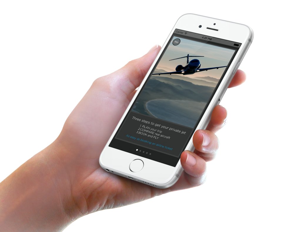 Charter your personal jet via mobile